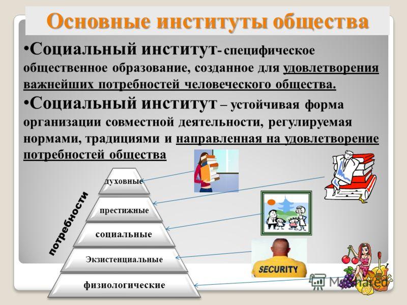 Основные институты общества Социальный институт - специфическое общественное образование, созданное для удовлетворения важнейших потребностей человеческого общества. Социальный институт – устойчивая форма организации совместной деятельности, регулиру