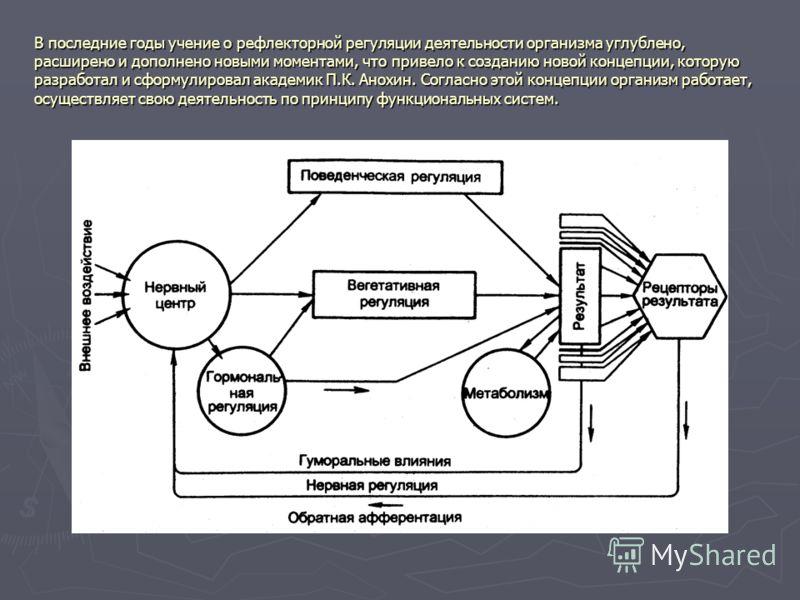 В последние годы учение о рефлекторной регуляции деятельности организма углублено, расширено и дополнено новыми моментами, что привело к созданию новой концепции, которую разработал и сформулировал академик П.К. Анохин. Согласно этой концепции органи