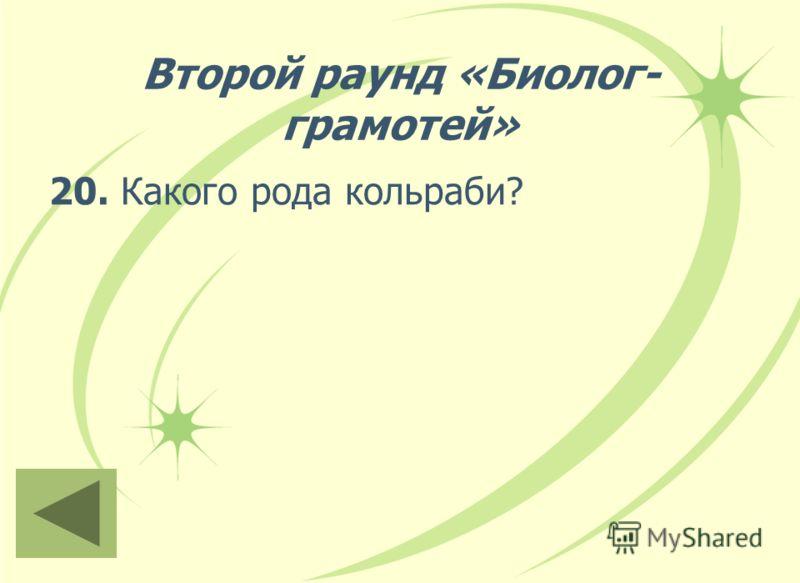 Второй раунд «Биолог- грамотей» 20. Какого рода кольраби?