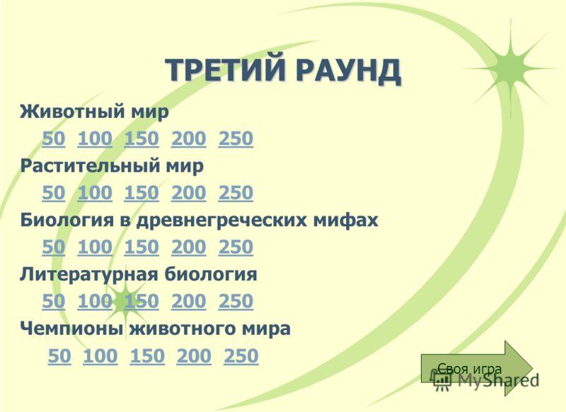 ТРЕТИЙ РАУНД Животный мир 50 100 150 200 25050100150200250 Растительный мир 50 100 150 200 25050100150200250 Биология в древнегреческих мифах 50 100 150 200 25050100150200250 Литературная биология 50 100 150 200 25050100150200250 Чемпионы животного м