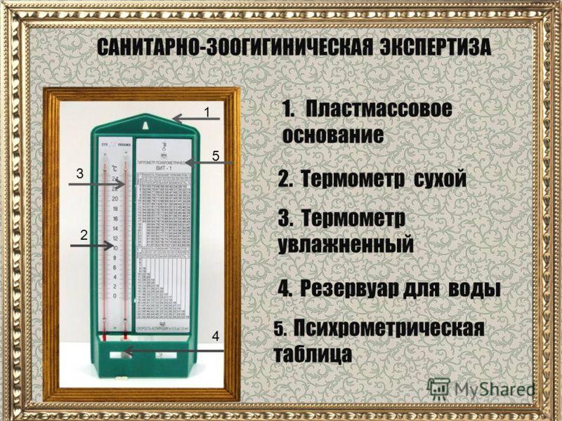 САНИТАРНО-ЗООГИГИНИЧЕСКАЯ ЭКСПЕРТИЗА 1 5 4 3 2 1. Пластмассовое основание 5. Психрометрическая таблица 2. Термометр сухой 3. Термометр увлажненный 4. Резервуар для воды