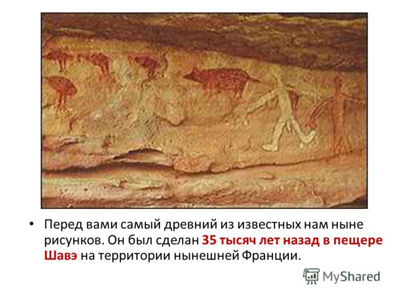 Перед вами самый древний из известных нам ныне рисунков. Он был сделан 35 тысяч лет назад в пещере Шавэ на территории нынешней Франции.
