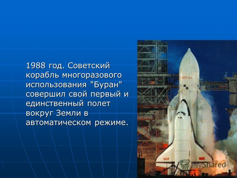 1988 год. Советский корабль многоразового использования Буран совершил свой первый и единственный полет вокруг Земли в автоматическом режиме.