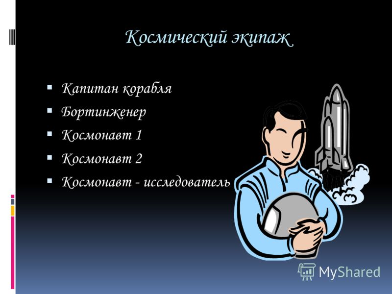 Космический экипаж Капитан корабля Бортинженер Космонавт 1 Космонавт 2 Космонавт - исследователь