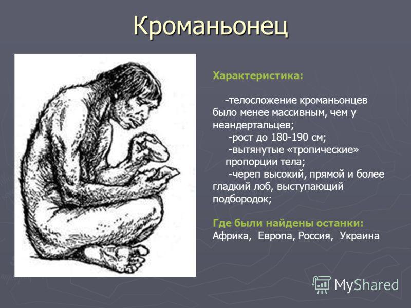 Кроманьонец Характеристика: -телосложение кроманьонцев было менее массивным, чем у неандертальцев; -рост до 180-190 см; -вытянутые «тропические» пропорции тела; -череп высокий, прямой и более гладкий лоб, выступающий подбородок; Где были найдены оста