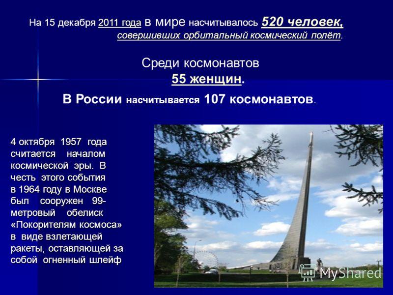 На 15 декабря 2011 года в мире насчитывалось 520 человек, совершивших орбитальный космический полёт.2011 года 520 человек, совершивших орбитальный космический полёт Среди космонавтов 55 женщин. 55 женщин В России насчитывается 107 космонавтов. 4 октя