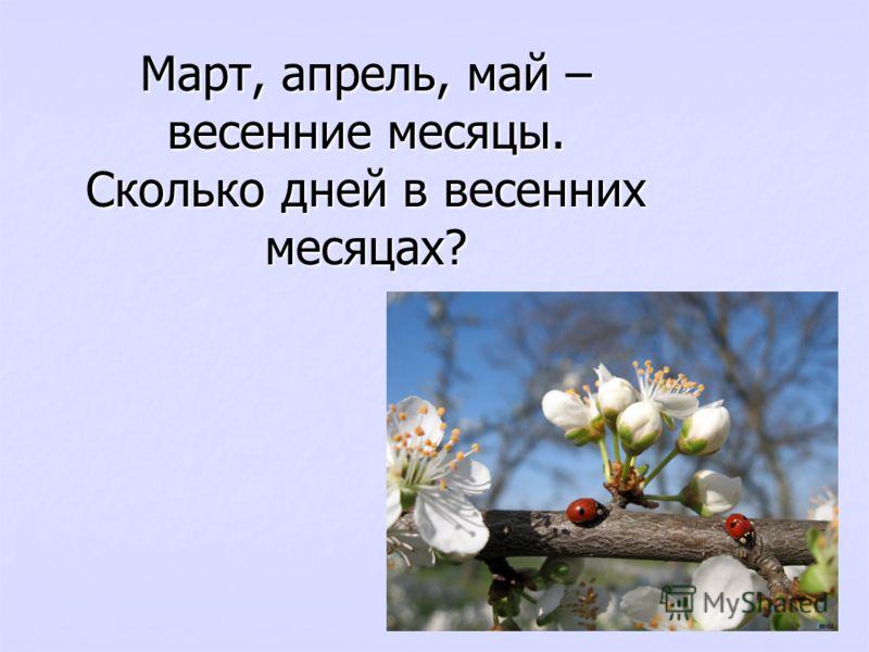 Март, апрель, май – весенние месяцы. Сколько дней в весенних месяцах?