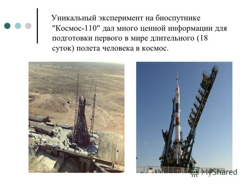 Уникальный эксперимент на биоспутнике Космос-110 дал много ценной информации для подготовки первого в мире длительного (18 суток) полета человека в космос.