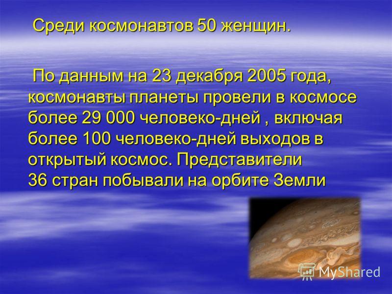 Среди космонавтов 50 женщин. Среди космонавтов 50 женщин. По данным на 23 декабря 2005 года, космонавты планеты провели в космосе более 29 000 человеко-дней, включая более 100 человеко-дней выходов в открытый космос. Представители 36 стран побывали н
