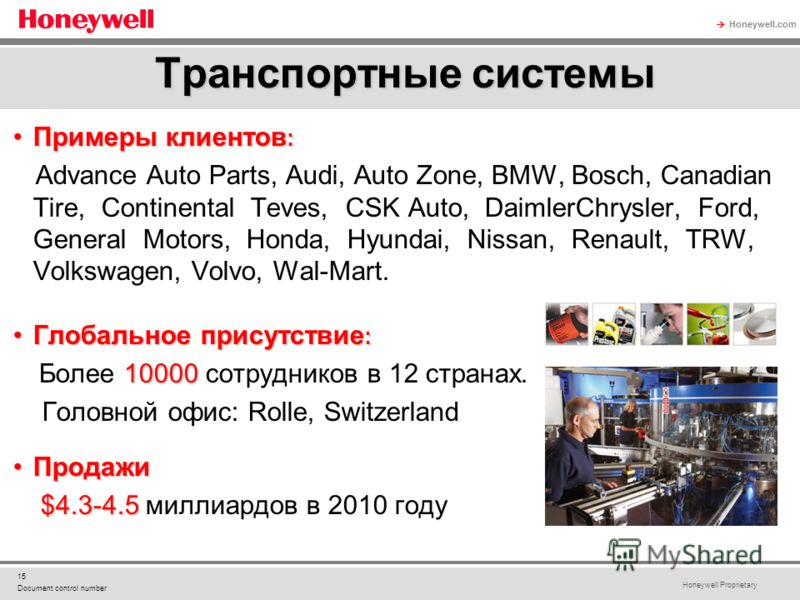 Honeywell Proprietary Honeywell.com 15 Document control number Примеры клиентов :Примеры клиентов : Advance Auto Parts, Audi, Auto Zone, BMW, Bosch, Canadian Tire, Continental Teves, CSK Auto, DaimlerChrysler, Ford, General Motors, Honda, Hyundai, Ni