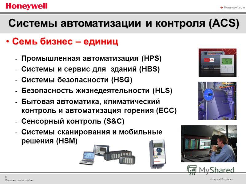 Honeywell Proprietary Honeywell.com 5 Document control number Семь бизнес – единицСемь бизнес – единиц - Промышленная автоматизация (HPS) - Системы и сервис для зданий (HBS) - Системы безопасности (HSG) - Безопасность жизнедеятельности (HLS) - Бытова
