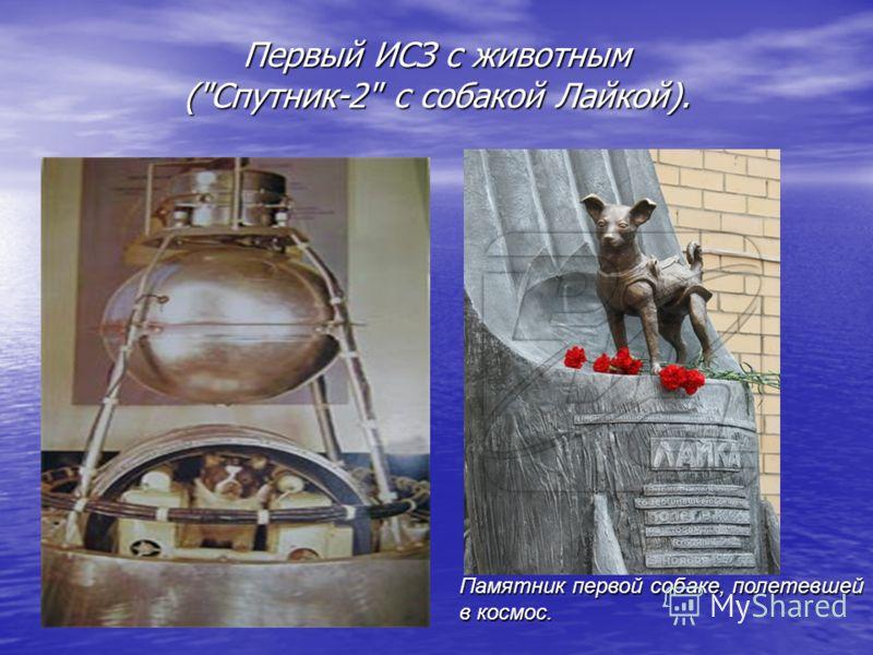 Первый ИСЗ с животным (Спутник-2 с собакой Лайкой). Памятник первой собаке, полетевшей в космос.