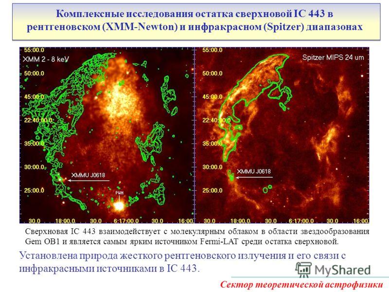 Комплексные исследования остатка сверхновой IC 443 в рентгеновском (XMM-Newton) и инфракрасном (Spitzer) диапазонах Сектор теоретической астрофизики Сверхновая IC 443 взаимодействует с молекулярным облаком в области звездообразования Gem OB1 и являет