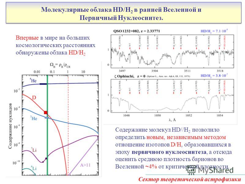 Молекулярные облака HD/H 2 в ранней Вселенной и Первичный Нуклеосинтез. Содержание молекул HD//H 2 позволило определить новым, независимым методом отношение изотопов D/H, образовавшихся в эпоху первичного нуклеосинтеза, а отсюда оценить среднюю плотн