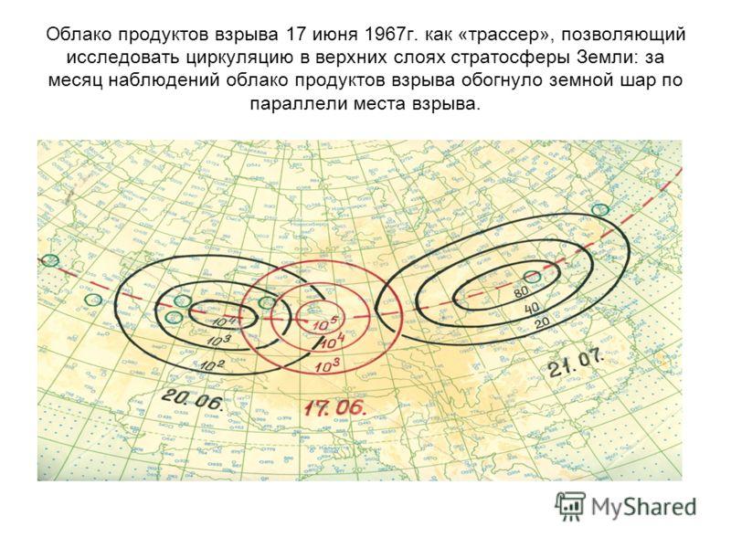 Облако продуктов взрыва 17 июня 1967г. как «трассер», позволяющий исследовать циркуляцию в верхних слоях стратосферы Земли: за месяц наблюдений облако продуктов взрыва обогнуло земной шар по параллели места взрыва.