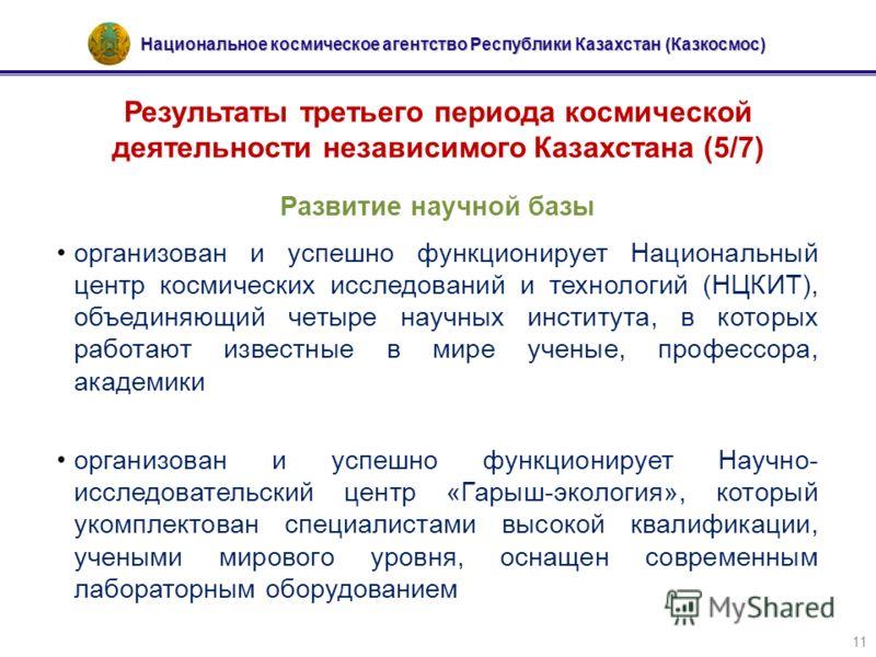 Национальное космическое агентство Республики Казахстан (Казкосмос) 11 Результаты третьего периода космической деятельности независимого Казахстана (5/7) Развитие научной базы организован и успешно функционирует Национальный центр космических исследо