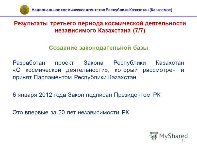 Национальное космическое агентство Республики Казахстан (Казкосмос) 13 Результаты третьего периода космической деятельности независимого Казахстана (7/7) Создание законодательной базы Разработан проект Закона Республики Казахстан «О космической деяте