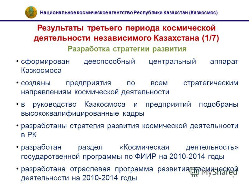 Национальное космическое агентство Республики Казахстан (Казкосмос) 7 Результаты третьего периода космической деятельности независимого Казахстана (1/7) Разработка стратегии развития сформирован дееспособный центральный аппарат Казкосмоса созданы пре