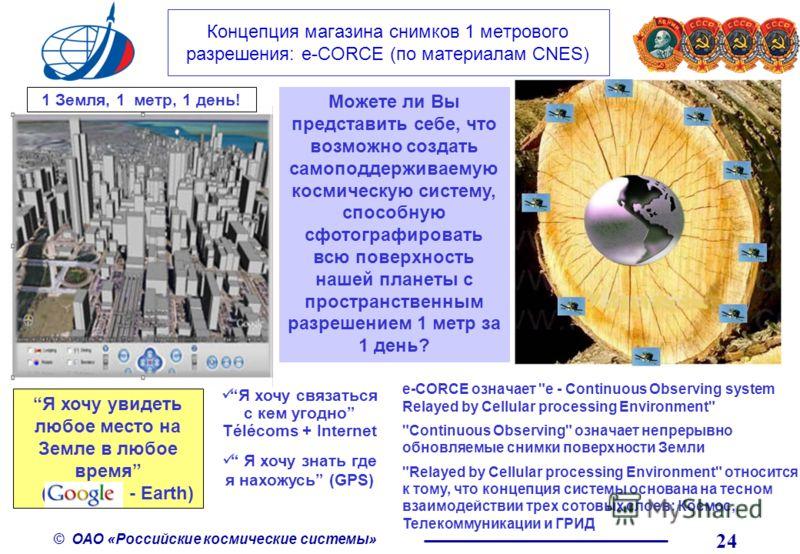 © ОАО «Российские космические системы» 24 Концепция магазина снимков 1 метрового разрешения: е-CORCE (по материалам CNES) 1 Земля, 1 метр, 1 день! Можете ли Вы представить себе, что возможно создать самоподдерживаемую космическую систему, способную с