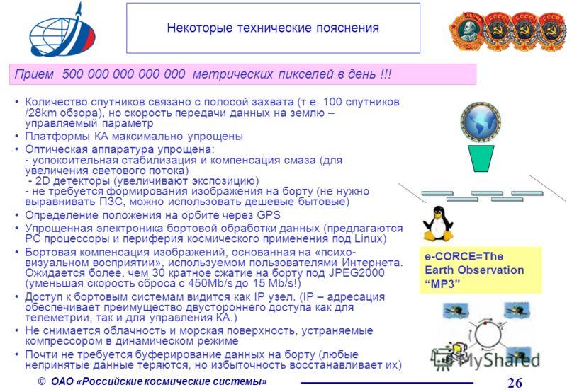 © ОАО «Российские космические системы» Количество спутников связано с полосой захвата (т.е. 100 спутников /28km обзора), но скорость передачи данных на землю – управляемый параметр Платформы КА максимально упрощены Оптическая аппаратура упрощена: - у