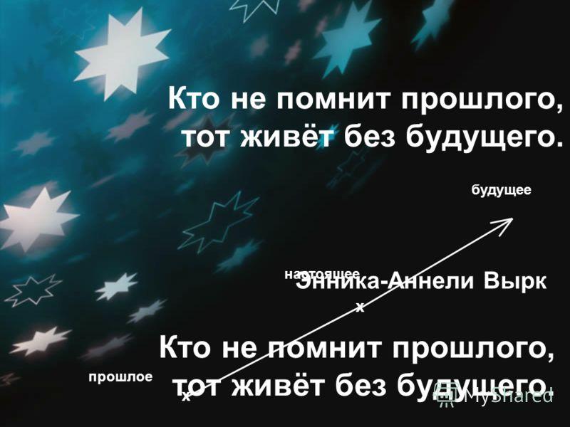 Кто не помнит прошлого, тот живёт без будущего. будущее настоящее x прошлое x Энника-Аннели Вырк Кто не помнит прошлого, тот живёт без будущего.