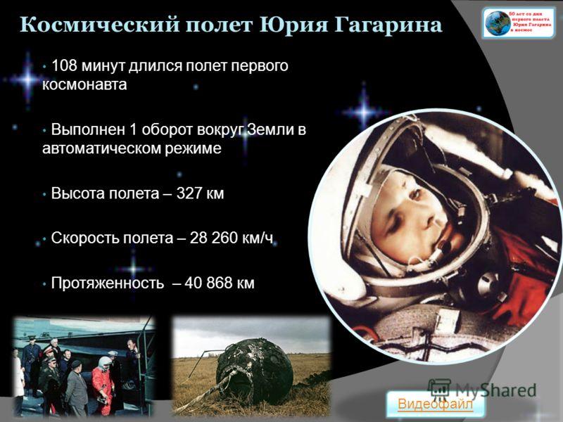 Космический полет Юрия Гагарина 108 минут длился полет первого космонавта Выполнен 1 оборот вокруг Земли в автоматическом режиме Высота полета – 327 км Скорость полета – 28 260 км/ч Протяженность – 40 868 км Видеофайл