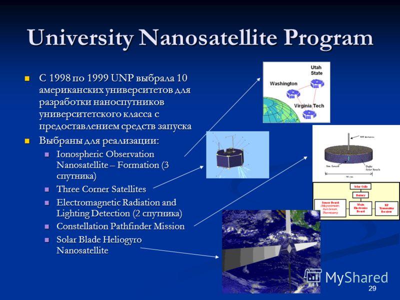 29 University Nanosatellite Program С 1998 по 1999 UNP выбрала 10 американских университетов для разработки наноспутников университетского класса с предоставлением средств запуска С 1998 по 1999 UNP выбрала 10 американских университетов для разработк