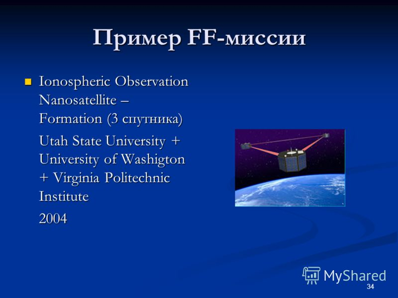 34 Пример FF-миссии Ionospheric Observation Nanosatellite – Formation (3 спутника) Ionospheric Observation Nanosatellite – Formation (3 спутника) Utah State University + University of Washigton + Virginia Politechnic Institute 2004