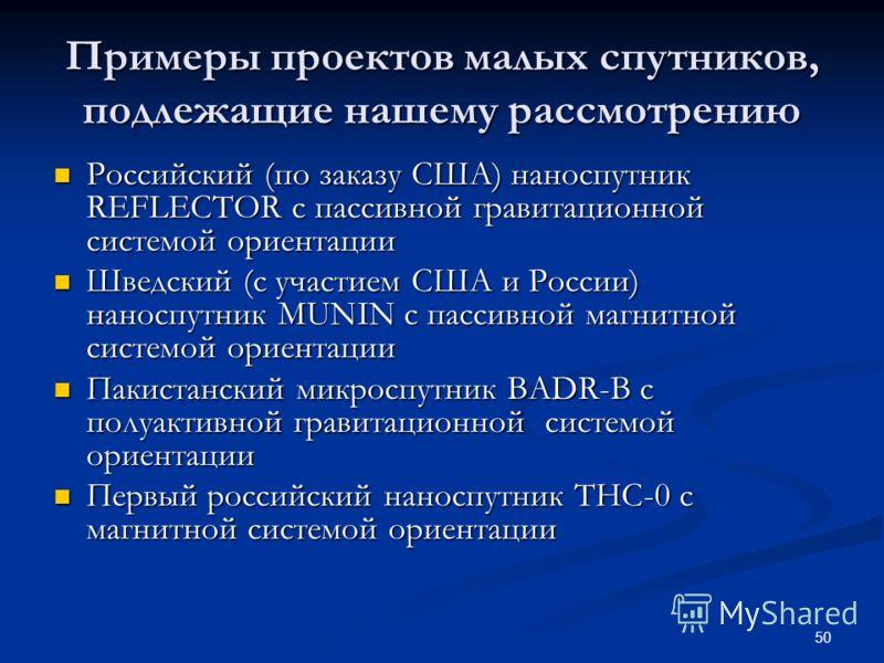 50 Примеры проектов малых спутников, подлежащие нашему рассмотрению Российский (по заказу США) наноспутник REFLECTOR с пассивной гравитационной системой ориентации Российский (по заказу США) наноспутник REFLECTOR с пассивной гравитационной системой о