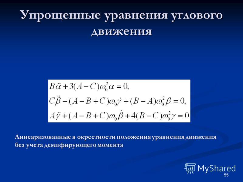 55 Упрощенные уравнения углового движения Линеаризованные в окрестности положения уравнения движения без учета демпфирующего момента