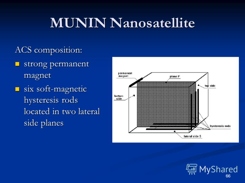 66 MUNIN Nanosatellite ACS composition: strong permanent magnet strong permanent magnet six soft-magnetic hysteresis rods located in two lateral side planes six soft-magnetic hysteresis rods located in two lateral side planes