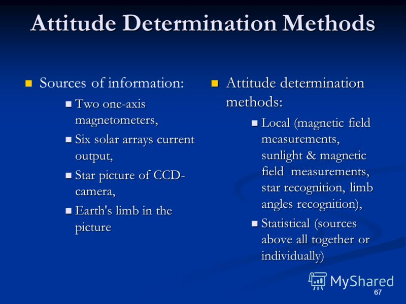 67 Attitude Determination Methods Sources of information: Two one-axis magnetometers, Two one-axis magnetometers, Six solar arrays current output, Six solar arrays current output, Star picture of CCD- camera, Star picture of CCD- camera, Earth's limb