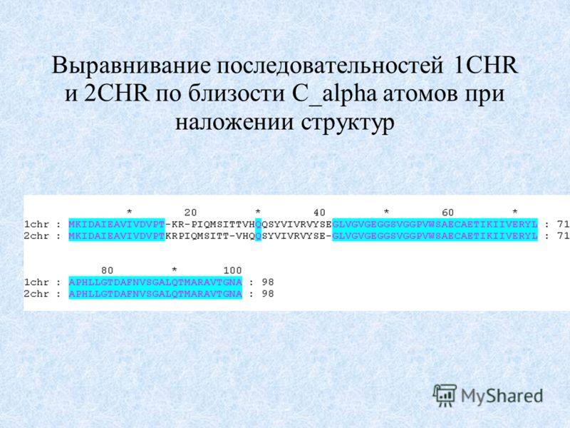 Выравнивание последовательностей 1CHR и 2CHR по близости C_alpha атомов при наложении структур
