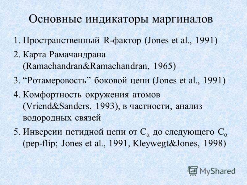 Основные индикаторы маргиналов 1.Пространственный R-фактор (Jones et al., 1991) 2.Карта Рамачандрана (Ramachandran&Ramachandran, 1965) 3.Ротамеровость боковой цепи (Jones et al., 1991) 4.Комфортность окружения атомов (Vriend&Sanders, 1993), в частнос