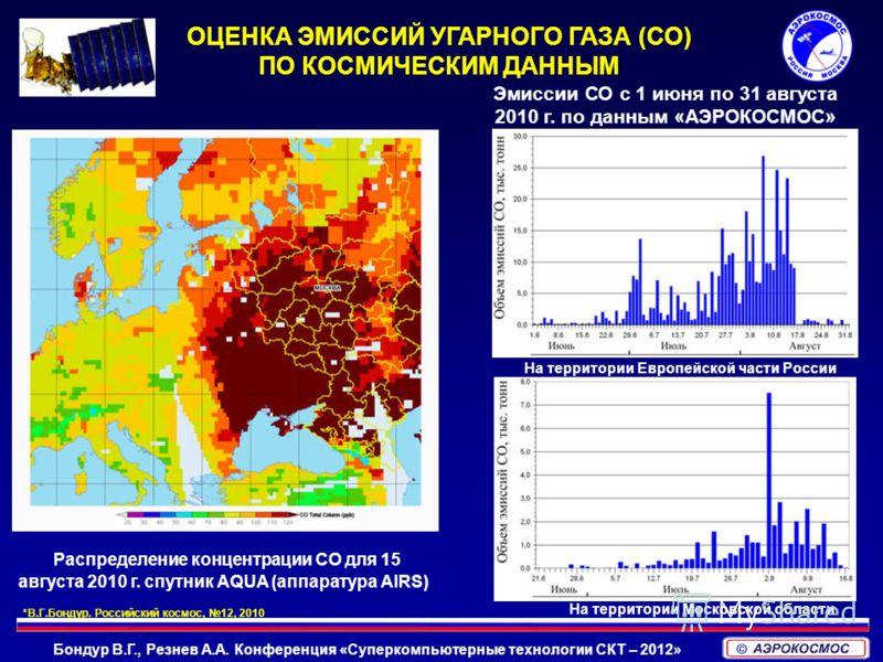 Бондур В.Г., Резнев А.А. Конференция «Суперкомпьютерные технологии СКТ – 2012» Распределение концентрации СО для 15 августа 2010 г. спутник AQUA (аппаратура AIRS) Эмиссии СО с 1 июня по 31 августа 2010 г. по данным «АЭРОКОСМОС» На территории Европейс