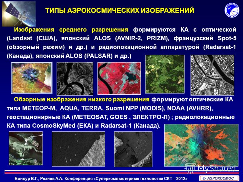 Бондур В.Г., Резнев А.А. Конференция «Суперкомпьютерные технологии СКТ – 2012» Изображения среднего разрешения формируются КА с оптической (Landsat (США), японский ALOS (AVNIR-2, PRIZM), французский Spot-5 (обзорный режим) и др.) и радиолокационной а