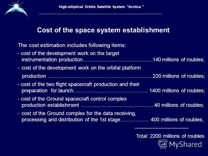 Высокоэллиптическая гидрометеорологическая космическая система «Арктика» The cost estimation includes following items: - cost of the development work on the target instrumentation production……….....................................140 millions of roub