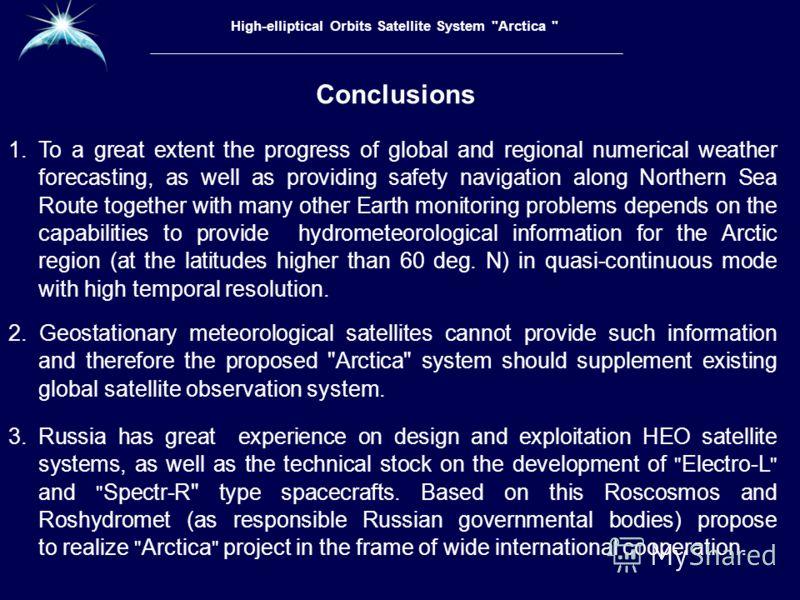 Высокоэллиптическая гидрометеорологическая космическая система «Арктика» Conclusions High-elliptical Orbits Satellite System