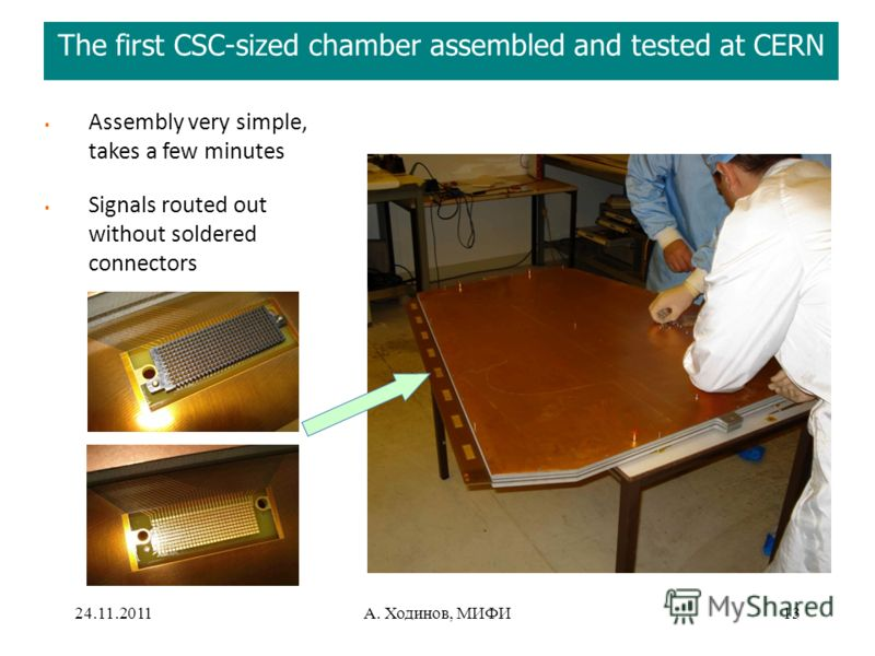 24.11.2011А. Ходинов, МИФИ13 The first CSC-sized chamber assembled and tested at CERN Assembly very simple, takes a few minutes Signals routed out without soldered connectors