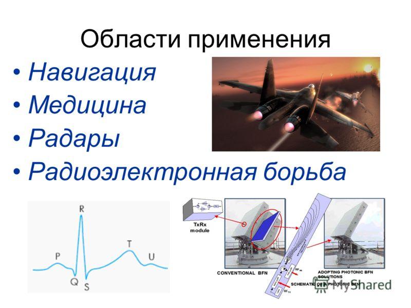 Области применения Навигация Медицина Радары Радиоэлектронная борьба
