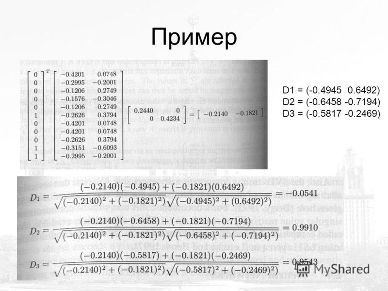 D1 = (-0.4945 0.6492) D2 = (-0.6458 -0.7194) D3 = (-0.5817 -0.2469)