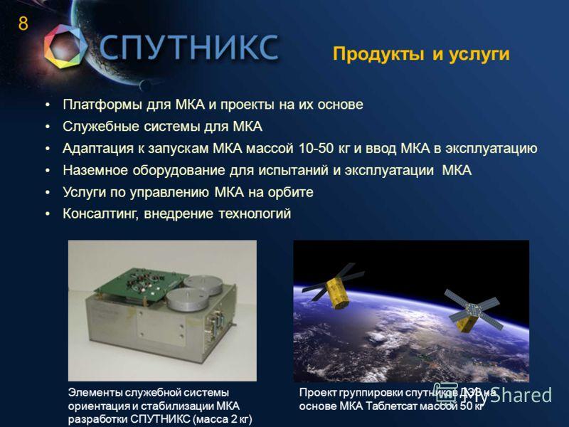 Продукты и услуги Платформы для МКА и проекты на их основе Служебные системы для МКА Адаптация к запускам МКА массой 10-50 кг и ввод МКА в эксплуатацию Наземное оборудование для испытаний и эксплуатации МКА Услуги по управлению МКА на орбите Консалти