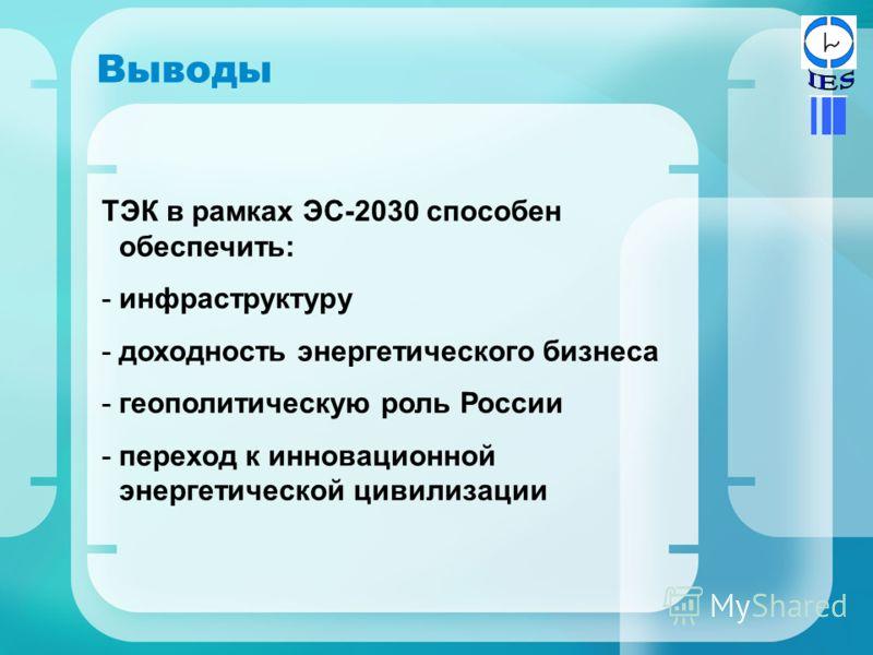 Выводы ТЭК в рамках ЭС-2030 способен обеспечить: -инфраструктуру -доходность энергетического бизнеса -геополитическую роль России -переход к инновационной энергетической цивилизации
