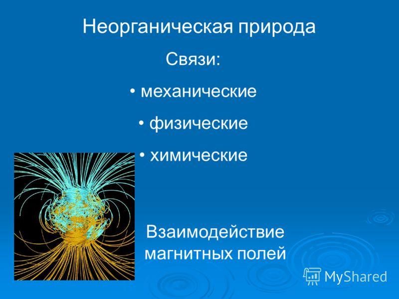 Неорганическая природа Связи: механические физические химические Взаимодействие магнитных полей