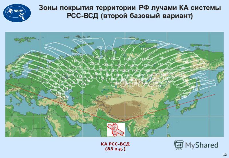 Зоны покрытия территории РФ лучами КА системы РСС-ВСД (второй базовый вариант) 13 КА РСС-ВСД (83 в.д.)