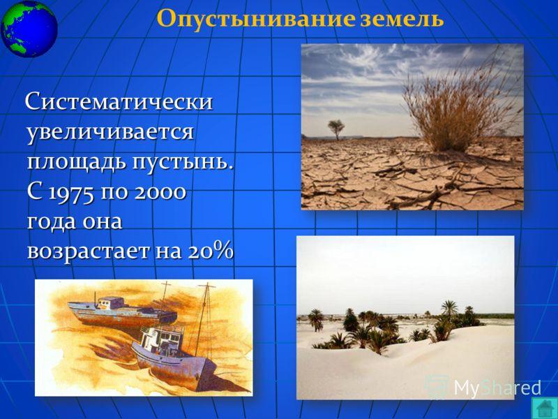 Систематически увеличивается площадь пустынь. С 1975 по 2000 года она возрастает на 20% Систематически увеличивается площадь пустынь. С 1975 по 2000 года она возрастает на 20% Опустынивание земель