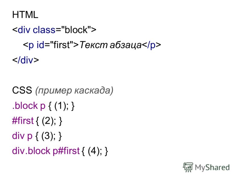 HTML Текст абзаца CSS (пример каскада).block p { (1); } #first { (2); } div p { (3); } div.block p#first { (4); }