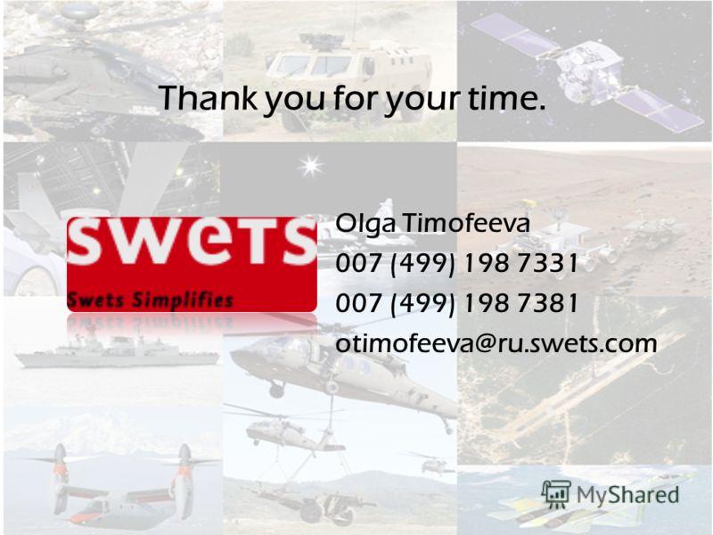 Olga Timofeeva 007 (499) 198 7331 007 (499) 198 7381 otimofeeva@ru.swets.com Thank you for your time.