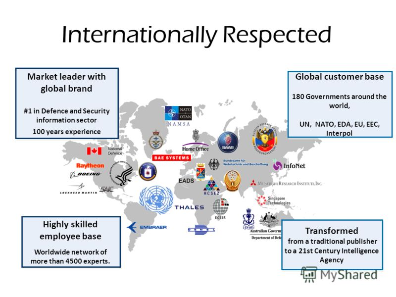 Internationally Respected Market leader with global brand #1 in Defence and Security information sector 100 years experience Market leader with global brand #1 in Defence and Security information sector 100 years experience Global customer base 180 G