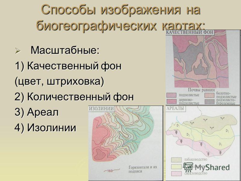 Способы изображения на биогеографических картах: Масштабные: Масштабные: 1) Качественный фон (цвет, штриховка) 2) Количественный фон 3) Ареал 4) Изолинии